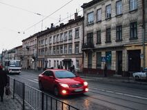 Walking sown the streets of Lviv Stock Photography