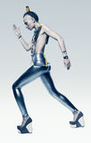 Walking space woman in silver costume Royalty Free Stock Photos