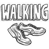 Walking sports sketch Royalty Free Stock Photo