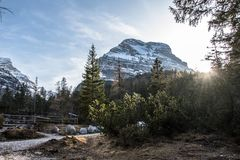Walking in a spring day. Spring time walking day dolomiti fanes cortina mountain landscape nature wood royalty free stock photography