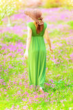 Walking in spring garden. Sensual woman walking in spring garden, rear view, beautiful fresh floral field, sunny day, gentle fashion style, freshness and Stock Photo