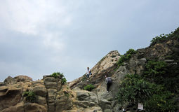 Walking on the steep mountains of tourists in HUIZHOU Stock Image