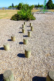 Walking steps at the playground by wooden stumps Stock Photos