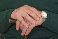 Walking Stick In Hands Royalty Free Stock Photo