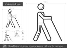 Walking stick line icon. Walking stick vector line icon isolated on white background. Walking stick line icon for infographic, website or app. Scalable icon Royalty Free Stock Image