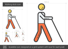 Walking stick line icon. Walking stick vector line icon isolated on white background. Walking stick line icon for infographic, website or app. Scalable icon Royalty Free Stock Photos