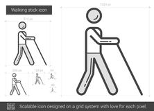 Walking stick line icon. Walking stick vector line icon isolated on white background. Walking stick line icon for infographic, website or app. Scalable icon Stock Photo