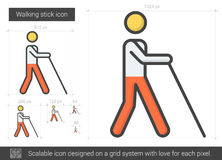 Walking stick line icon. Walking stick vector line icon isolated on white background. Walking stick line icon for infographic, website or app. Scalable icon Stock Photography