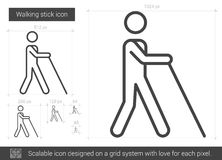 Walking stick line icon. Walking stick vector line icon  on white background. Walking stick line icon for infographic, website or app. Scalable icon designed on Stock Image