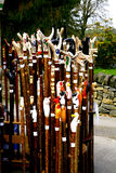 Walking sticks and crooks. Walking stick and shephard crooks on sale at a village carnival stall at Ashover, Derbyshire, England, UK Stock Photos