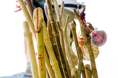 Walking sticks prepared to be used in the El Camino Royalty Free Stock Photos