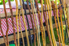 Walking Sticks for Sale. Wooden walking sticks for sale by a vendor at the annual Peanut Festival in Brooklet, Georgia Royalty Free Stock Images