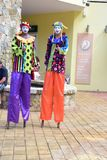 Walking on Stilts in Costa Maya Mexico royalty free stock photo
