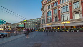 Walking on Stoleshnikov pedestrian street to Grand. Theatre in Moscow timelapse hyperlapse. Stoleshnikov is one of the most expensive shopping streets in Moscow stock video