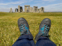 Walking at Stonehenge Royalty Free Stock Photos