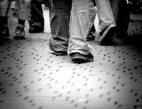 Walking through the street stock photos