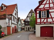 The walking street of Besigheim with  half-timbered houses. The walking street of Besigheim with old half-timbered houses in perspective. Baden-Wurttemberg Royalty Free Stock Photo