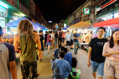 Walking Street every Saturday night in Chiang Mai. Chiang Mai - September 10, 2016: tourists shopping on Wua Lai road Walking Street every Saturday night in Royalty Free Stock Images