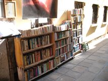 Venezia, Italy - October 04, 2016: Outdoor bookstore for tourists royalty free stock images