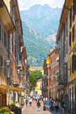 Walking street in Lecco, Italy Stock Photography