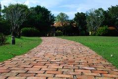 Walking street made of bricks Royalty Free Stock Photo
