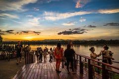 Walking street market, Chiang Khan Mekong River Royalty Free Stock Images