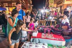 Walking street market Wualai. royalty free stock image