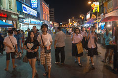 Walking street at night and asian town festival Royalty Free Stock Photo