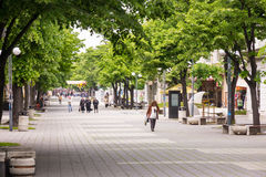 Walking Street in the old Bourgas, Bulgaria. Burgas - the regional center in Bulgaria, a major seaport on the Black Sea. Modern and historic city Royalty Free Stock Image