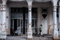Walking on the street of Old Havana, Stock Image