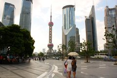 Walking in Street of Pudong, Shanghai Stock Photos