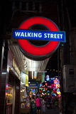 Walking street sign, Pattaya, tourist attraction in Thailand Stock Image