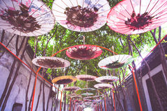 Walking street with umbrella roof, colorful of umbrella with fil. Ter Royalty Free Stock Image