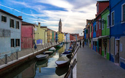 Walking on the streets of the island of Burano. royalty free stock photo