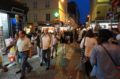 Walking the Streets at Night in Paris Stock Photos