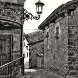 Walking the streets of Potes (Cantabria, Spain). Walking the cobblestone streets of Potes (Cantabria, Spain royalty free stock images