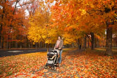 Walking with stroller royalty free stock images