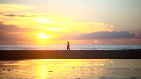 Walking at Sunrise stock video