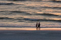 Walking at Sunset. People Walking on the Beach at Sunset Stock Photos