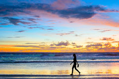 Walking  at sunset. Bali island Royalty Free Stock Image