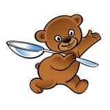 Walking teddy bear with big spoon Royalty Free Stock Photos