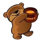 Walking teddy bear with honey pot. Walking funny teddy bear with honey pot Royalty Free Stock Photo