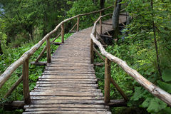 Walking timber bridge with handrails Royalty Free Stock Photos