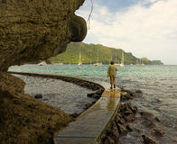 Walking to the beach on bequia. A new path to princess margaret beach providing a lovely walk around the harbor royalty free stock photo