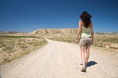 Walking to desert horizon Stock Image