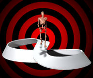 Walking To Infinity. Conceptual image showing a figure who will forever be walking on a infinite Mobius strip Stock Photography