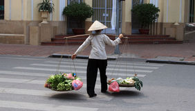 Walking to market. A lady walking her produce to market, a pair of panniers hanging from her shoulders on a piece of bamboo royalty free stock image