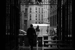 Walking to the Rain - Paris France Stock Image