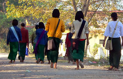 Walking to School. Myanmar (Burma stock image