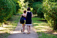 Walking to school Stock Images